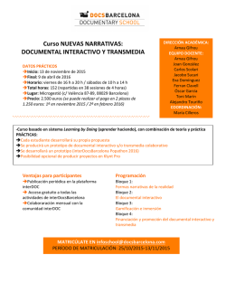 Curso NUEVAS NARRATIVAS: DOCUMENTAL INTERACTIVO Y