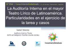 Auditoria interna en el Teatro Colon- Isabel Valente