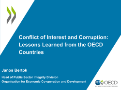 Conflict of Interest and Corruption: Lessons Learned from the OECD
