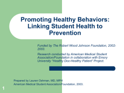 Linking Student Health Behaviors to the Practice of Prevention