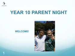 Year 10 Parent Information Evening Presentation
