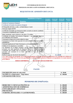 Requisitos para Postular - Universidad de Huánuco