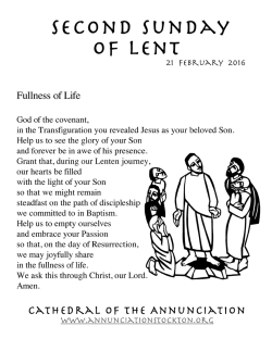 Parish Lenten Activities - Cathedral of the Annunciation