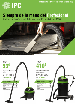 Promociones IPC Cleaning Marzo y Abril 2016