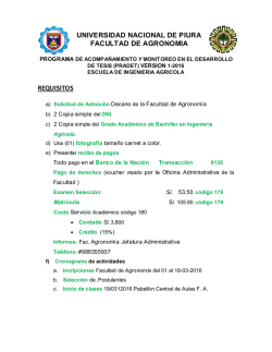universidad nacional de piura facultad de agronomia requisitos