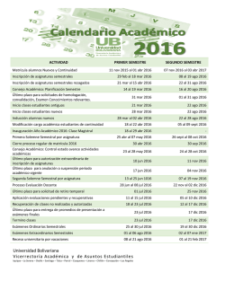 Calendario Académico - Universidad Bolivariana
