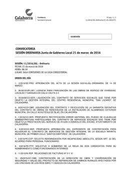 CONVOCATORIA SESIÓN ORDINARIA Junta de Gobierno Local 21