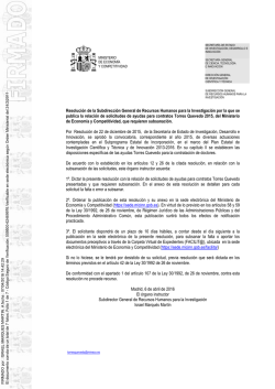 Resolución de subsanación expedientes PTQ-15
