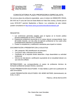 CONVOCATORIA PLAZA PROFESOR ESPECIALISTA