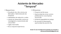 "Asistente de Mercadeo ""Temporal"""