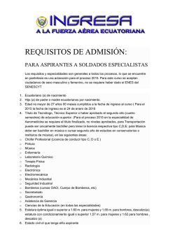 Requisitos Aspirantes Soldados Especialistas