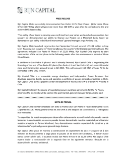 PRESS RELEASE Rijn Capital Chile successfully