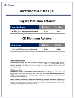 Inversiones a Plazo Fijo. Pagaré Platinum Actinver CD Platinum