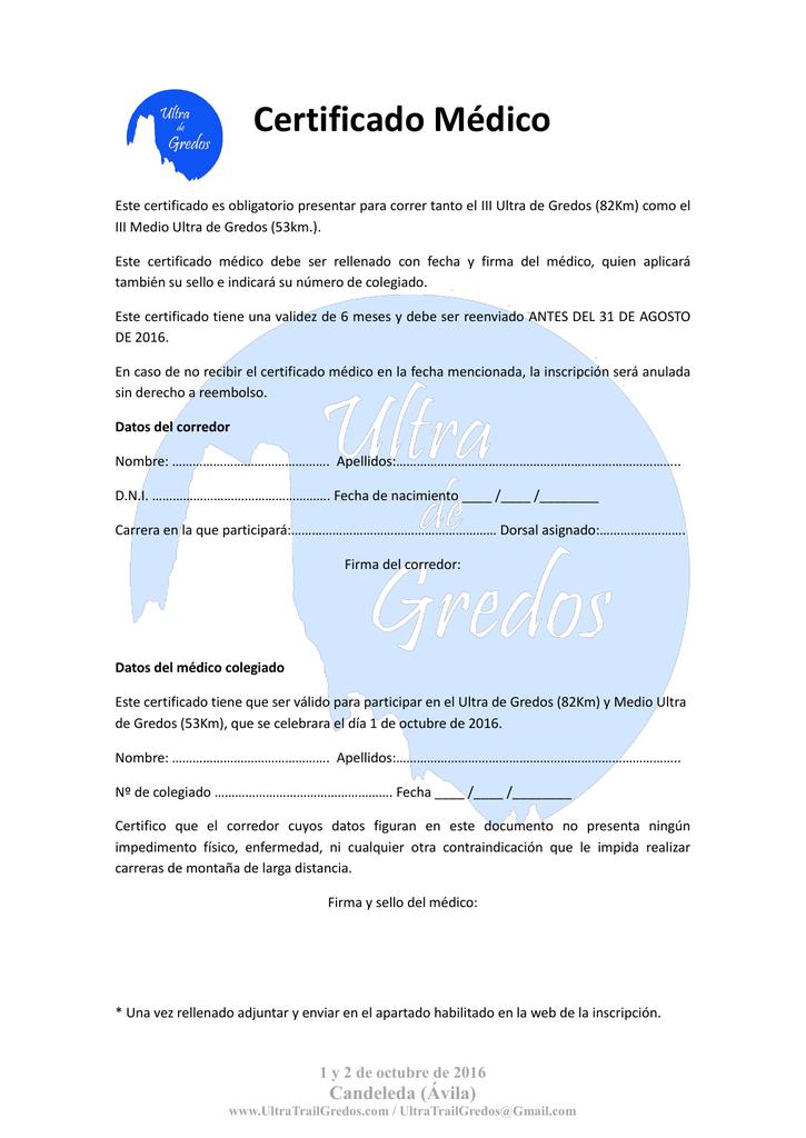 Famoso Certificado Médico De Carrera Bandera - Cómo conseguir mi ...
