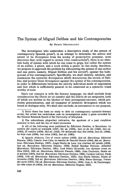 The Syntax of Miguel Delibes and his Contemporaries
