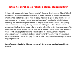 Tactics to purchase a reliable global shipping firm