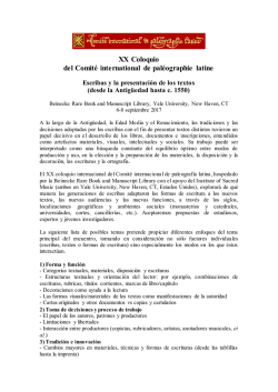 XX Coloquio del Comité international de paléographie latine