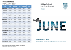 Menú Junio 2016 - British School Alzira