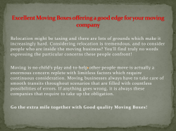 Excellent Moving Boxes providing a good edge for your moving business