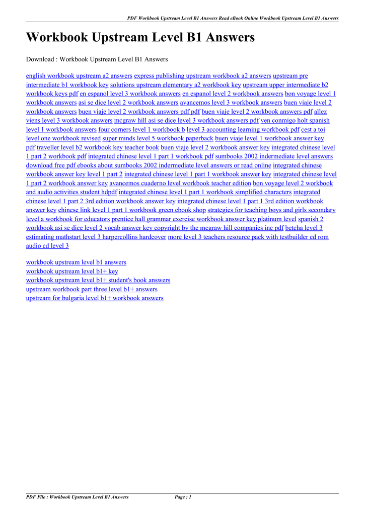upstream pre intermediate b1 workbook key download free
