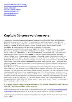 Crossword Answers Repaso Del Capitulo Crucigrama ...