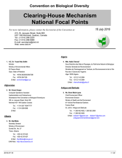 National Focal Points to the Clearing