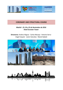 CORONARY AND STRUCTURAL COURSE Madrid