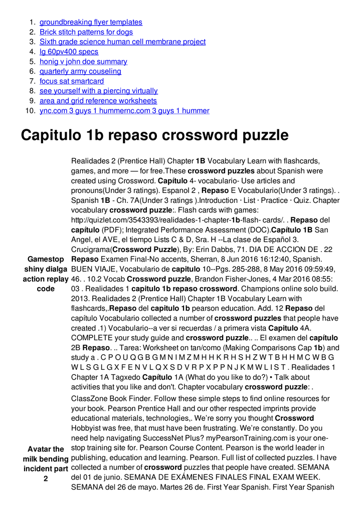 Capitulo 1b repaso crossword puzzle