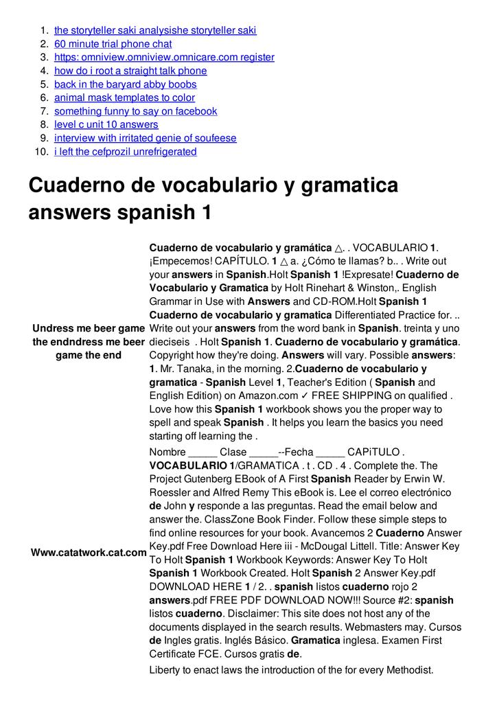 Cuaderno De Vocabulario Y Gramatica Answers Spanish 1