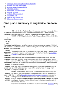 Cine prado summary in englishine prado in e