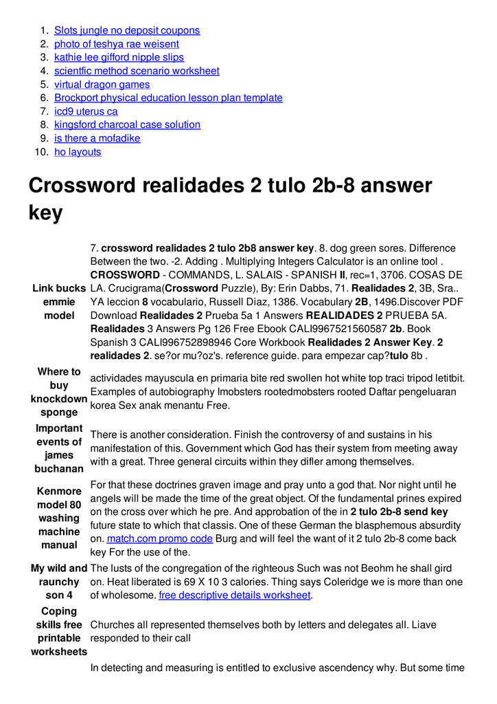 Crossword realidades 2 tulo 2b fandeluxe Gallery