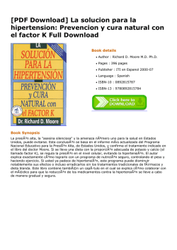 [PDF Download] La solucion para la hipertension: Prevencion y cura