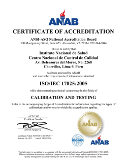 certificate of accreditation - Instituto Nacional de Salud