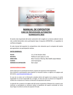 manual de expositor - Foro Automotriz 2016
