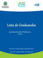 Lista de graduandos. Juramentación Ordinaria. Octubre 2016