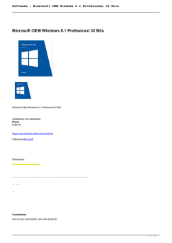 Software : Microsoft OEM Windows 8.1 Profesional 32 Bits