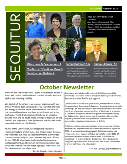 October Newsletter - Sequoia Union High School District