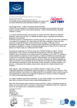 "The Quality Group – Lottery Technology Systems GmbH (""TQG"