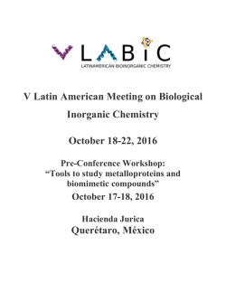 V Latin American Meeting on Biological Inorganic Chemistry