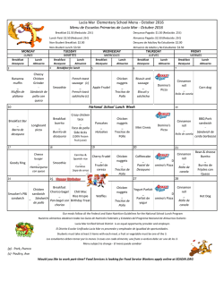 Lucia Mar Elementary School Menu