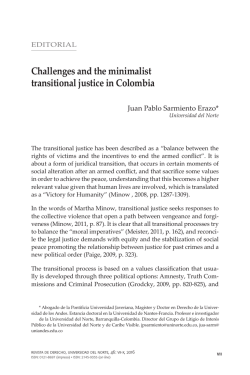 Challenges and the minimalist transitional justice in Colombia