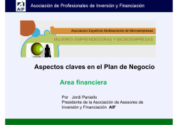 Aspectos claves en el Plan de Negocio pg Area financiera