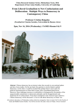 Nov 16 Reigadas `Multiple ways to democracy in contemporary China`