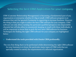 Selecting the best CRM Application for your company