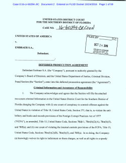 Embraer Deferred Prosecution Agreement