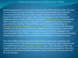 Exclusive Business to Business CRM