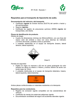 Requisitos para el Transporte de Hipoclorito de Sodio