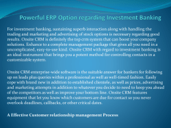 Powerful ERP Option regarding Investment Banking