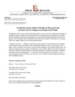 Press Release : Archdiocese of Los Angeles