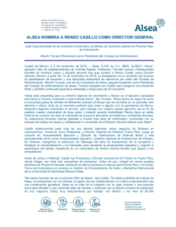 alsea nombra a renzo casillo como director general